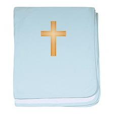 Gold Cross/Christian baby blanket