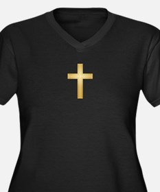Gold Cross/Christian Women's Plus Size V-Neck Dark