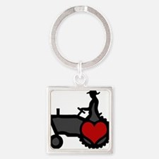 Love Farming Square Keychain