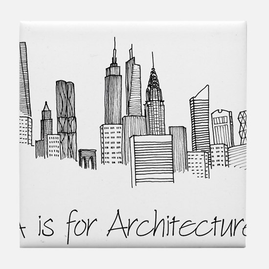 A is for Architecture Skyline Tile Coaster