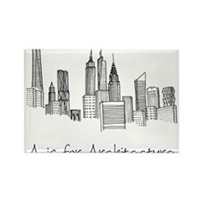 A is for Architecture Skyline Rectangle Magnet