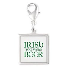 Irish You Were Beer Silver Square Charm