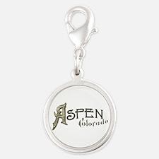 Aspen Colorado Silver Round Charm