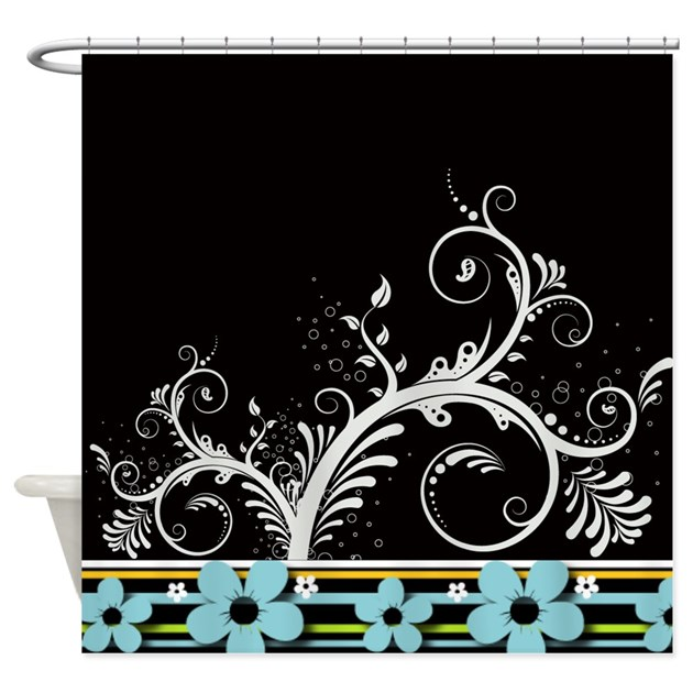 Black And White Swirly Floral Shower Curtain By Cheriverymery
