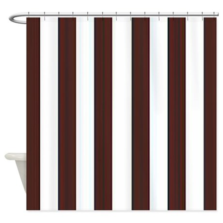 Dark Brown And White Stripes Shower Curtain By