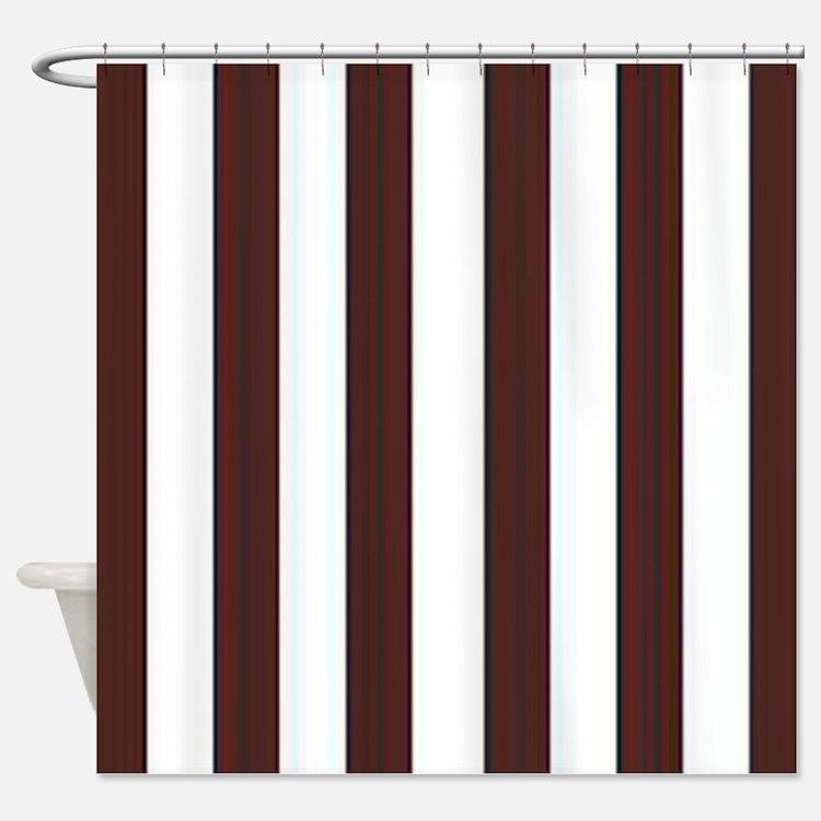 Dark Brown And White Striped Shower Curtains Dark Brown And White Striped Fabric Shower