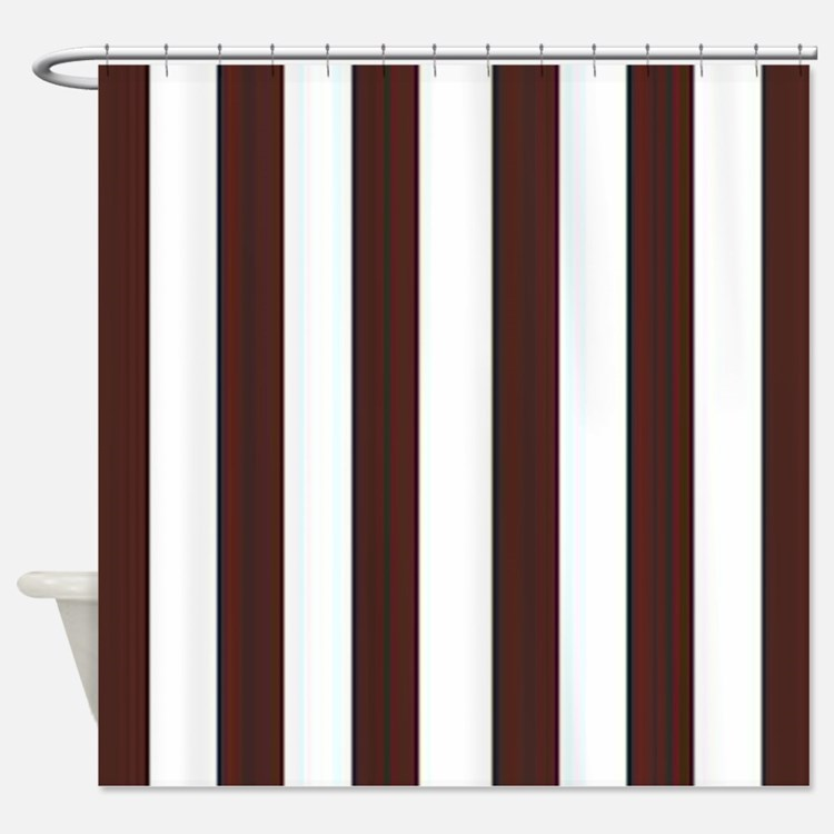 Brown and white stripe bathroom accessories decor for Brown and white bathroom accessories