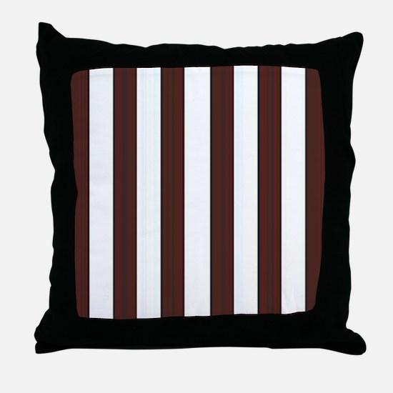 Dark brown and white stripes Throw Pillow
