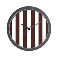 Dark brown and white stripes Wall Clock