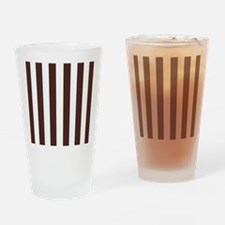Dark brown and white stripes Drinking Glass