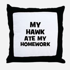My Hawk Ate My Homework Throw Pillow