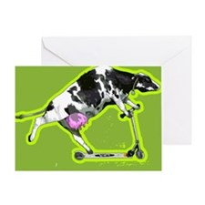 Cow on push scooter Greeting Card