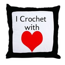 I Crochet with Heart Throw Pillow
