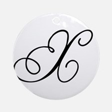 Champagne Monogram X Ornament (Round)