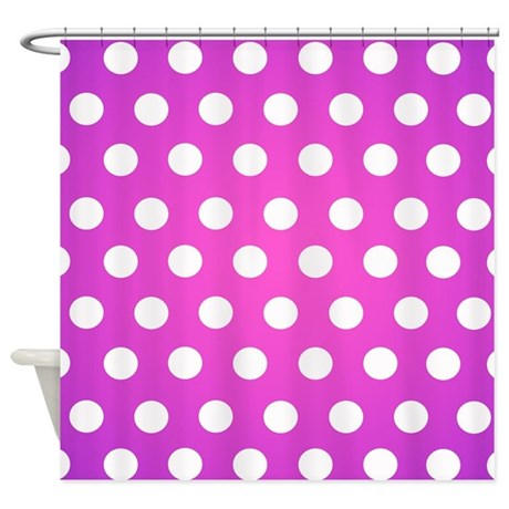Purple Pink Dots Shower Curtain By Poptopia1