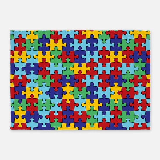 Autism Awareness Puzzle Piece Pattern 5'x7'Area Ru