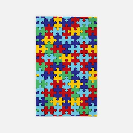 Autism Awareness Puzzle Piece Pattern 3'x5' Area R