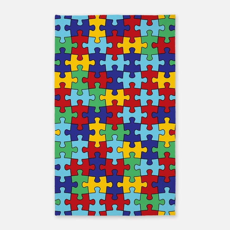 Autism Awareness Puzzle Piece Pattern 3'x5' Area R