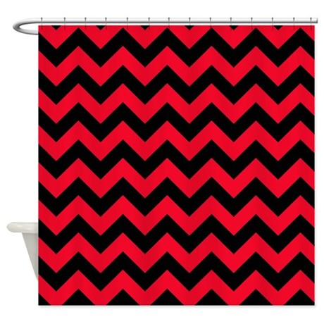 red and black chevron shower curtain by poptopia1