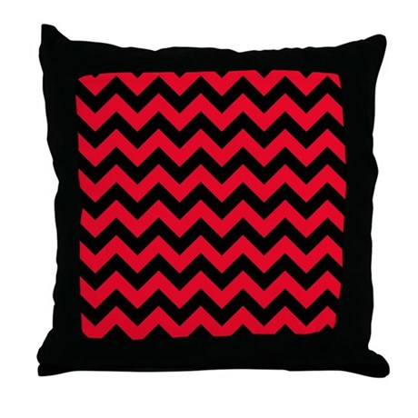 red and black chevron throw pillow by poptopia1. Black Bedroom Furniture Sets. Home Design Ideas