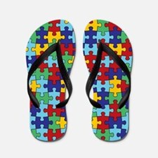 Autism Awareness Puzzle Piece Pattern Flip Flops