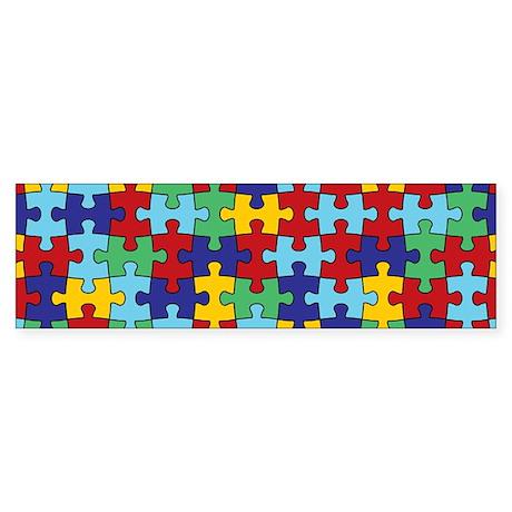 Autism Awareness Puzzle Piece Pattern Bumper Stick