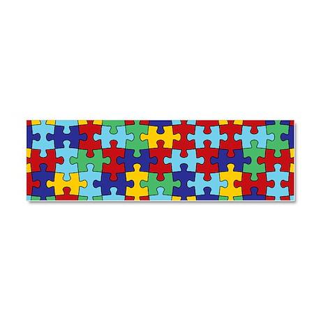 Autism Awareness Puzzle Piece Pattern Car Magnet 1
