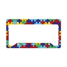 Autism Awareness Puzzle Piece Pattern License Plat