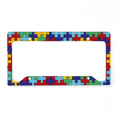 Autism Awareness Puzzle Piece Pattern License Plat