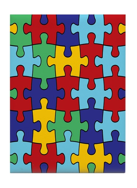 Autism Awareness Puzzle Piece Pattern Tile Coaster By