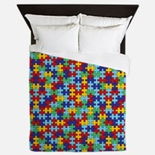 Autism Awareness Puzzle Piece Pattern Queen Duvet
