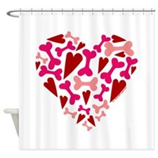 Modern Dog Lover Hearts Bones Shower Curtain