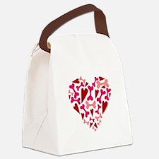 Modern Dog Lover Hearts Bones Canvas Lunch Bag