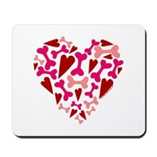 Modern Dog Lover Hearts Bones Mousepad