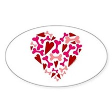 Modern Dog Lover Hearts Bones Decal