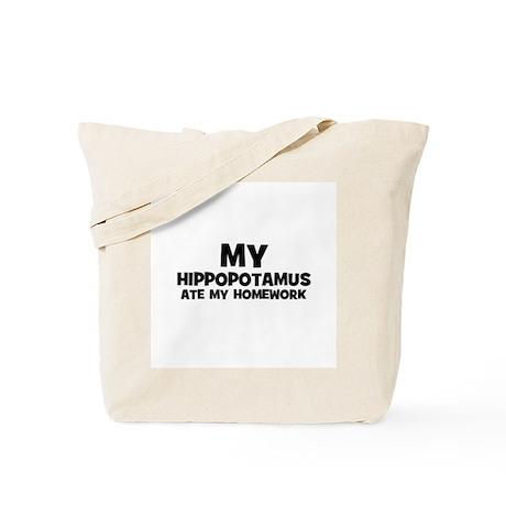 My Hippopotamus Ate My Homewo Tote Bag