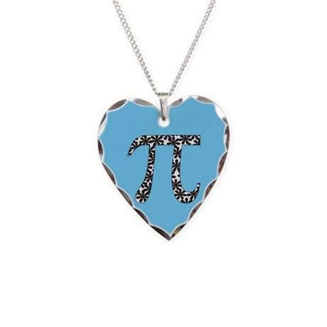 Blue Floral Pi Necklace Heart Charm