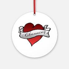 Channing Tattoo Heart Ornament (Round)