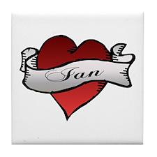 Ian Tattoo Heart Tile Coaster