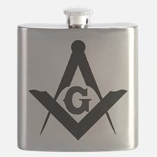 Outline Square and Compass Flask