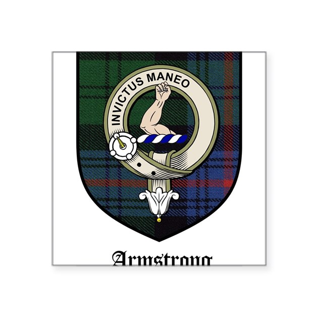 Armstrong Clan Crest Tartan Square Sticker 3 Quot X 3 Quot By