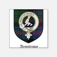 "Armstrong Clan Crest Tartan Square Sticker 3"" x 3"""