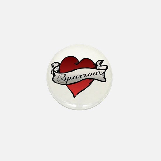 Sparrow Tattoo Heart Mini Button