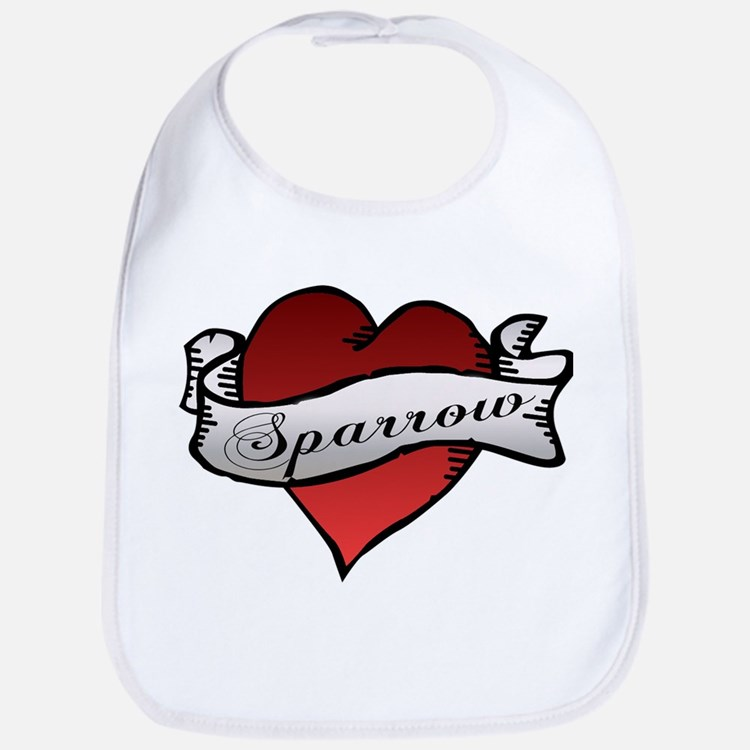 Sparrow Tattoo Heart Bib