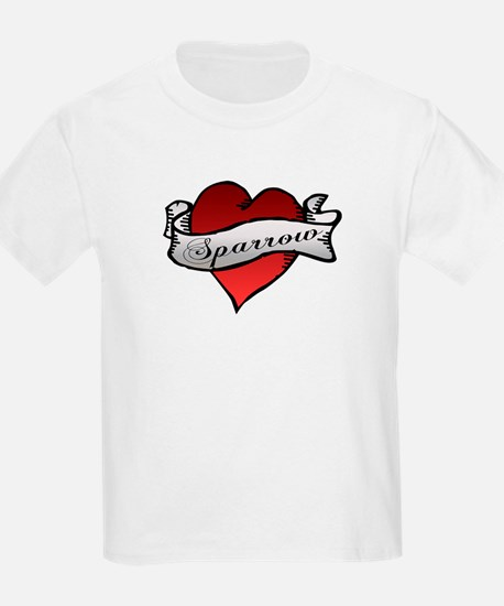 Sparrow Tattoo Heart Kids T-Shirt