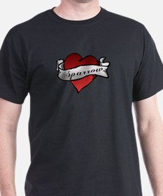 Sparrow Tattoo Heart T-Shirt