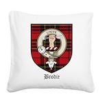 Brodie Clan Crest Tartan Square Canvas Pillow