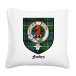 Forbes Clan Crest Tartan Square Canvas Pillow