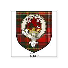 """Hay Clan Crest Tartan Square Sticker 3"""" x 3"""""""