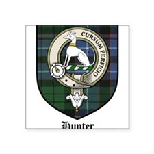 "Hunter Clan Crest Tartan Square Sticker 3"" x 3"""